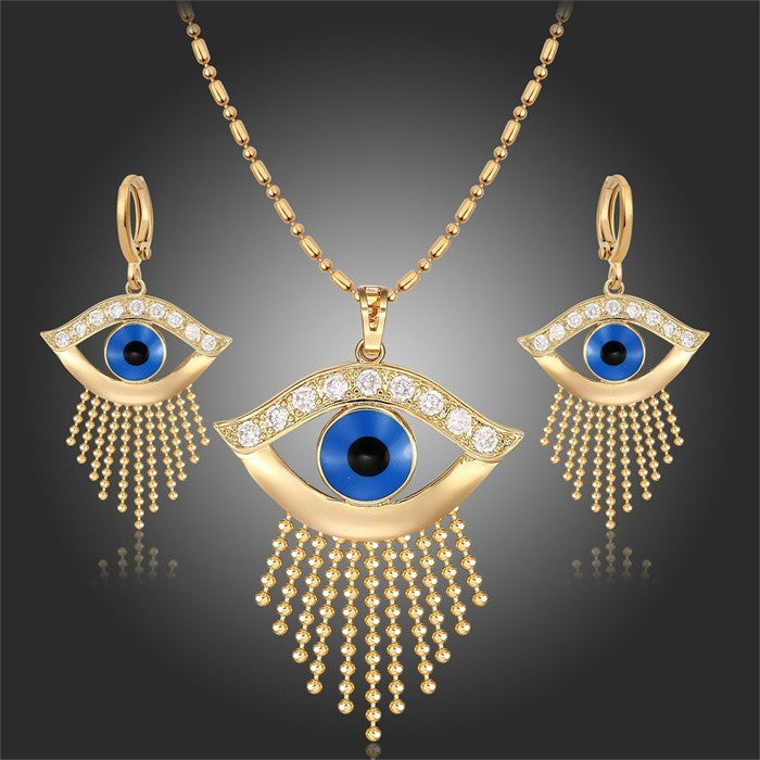 "Yellow Gold Plated Blue Evil Eyes 18"" Necklace Pendant Earrings Jewelry Set"