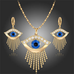Yellow Gold Plated Blue Evil Eyes 18