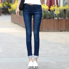 Vintage Slim Tight Fitting Elastic High Waist Skinny Jeans