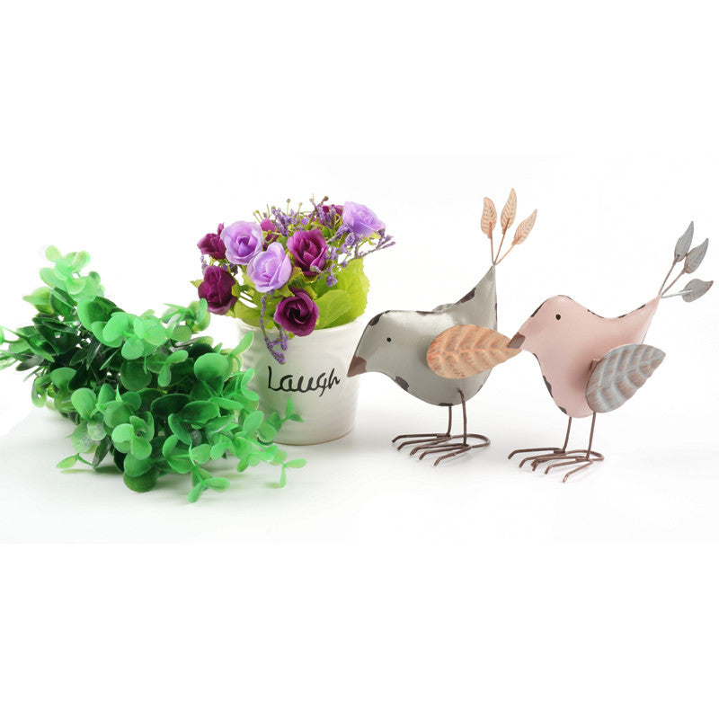 Pair of cute metal stand birds vintage leaf wings home decoration accessories