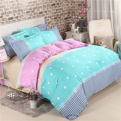 Fashion Printed Duvet Cover Bed Sheet with Pillowcase 4pcs set in Full/Queen Size
