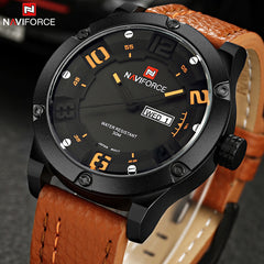 Fashionable Casual Leather Sports Military Quartz Watch