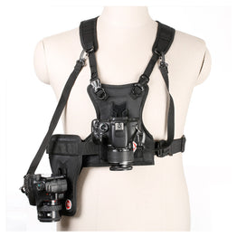 Multi 2 Camera Carrying Chest Harness System Vest with Side Holster for DSLR Cameras