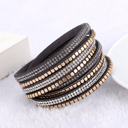 Rhinestone Leather Crystal Bracelets For women