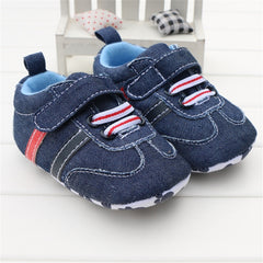 Blue Denim Jeans Pattern  Strap Baby Shoes