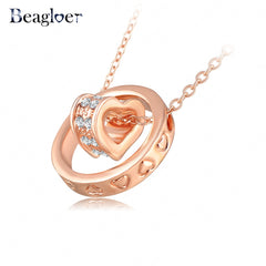 Austrian Crystal Circle Heart Rose Gold & Silver Plated Necklace for Women