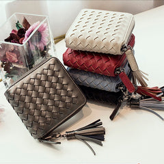 Design Fashion Women Luxury Weave PU Leather Wallet