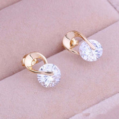 Gold Plated Zircon Crystal Jewelry Gift Earring for Women