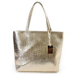 Fashion Casual Women Shoulder Bags Silver Gold Black Crocodile Handbag PU Leather