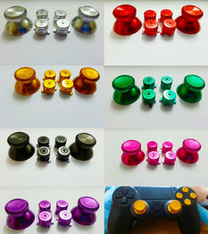 1 set Metal Aluminum Alloy Metal Buttons + Thumbsticks Metal mushroom Set For PS4 Controller