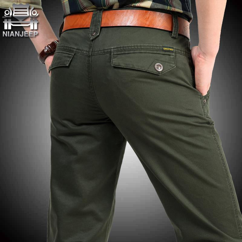 NIANJEEP Cotton Pants Casual  Men Clothing Military Army Green Size 30 40 42