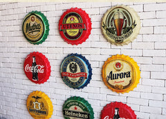 MOTORCYCLES Round Vintage tin sign 40cm Beer Bottle Cap Metal sign bar poster 3D style