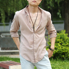 Zecmos Cotton Linen Man Casual Shirt British Fashion Clothes