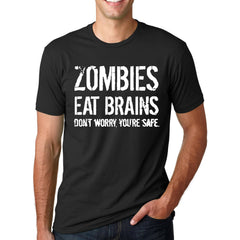 Funny Zombies Eat Brains So You'Re Safe Letter Printed Short Sleeve O-Neck T-Shirt