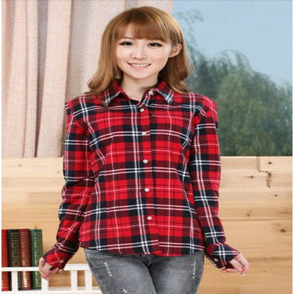 Fashion Ladies Long Sleeve Casual Cotton Slim Plaid Shirt Women Tops Blouse