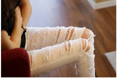 Ripped Denim Designer Casual White Trousers/Jeans for Women