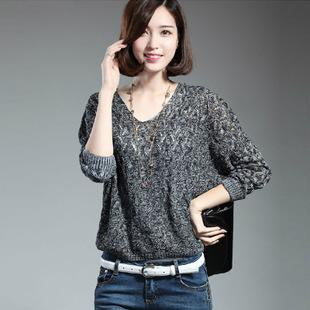 Casual Loose Thin Women Hollow Out V-Neck Three Quarters Sleeve Solid Color Sweater Black/ Grey