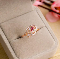Fashion Vintage Red Gem Leave RGP plated rose gold Crystal Ring