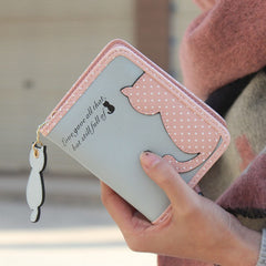 Cute Cat Design PU Leather Wallet & Card Holder for Women