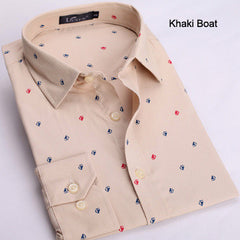 Men Shirt Slim Fit Casual Fashion Polka Dot Print Luxury Shirts