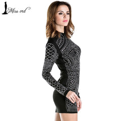 Sexy Geometric retro Rhinestone high-necked long-sleeved tight party dress