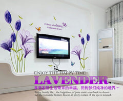 New Fashion Purple Tulips Flowers DIY 3d Wall Sticker Home Decor