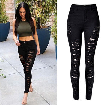 Womens High Waist Skinny Ripped Boyfriend Casual Slim Fit Cool Hole Denim Cotton Jeans
