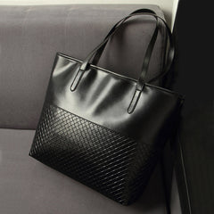 PU Leather Weave Pattern Vintage Female Shopping Bag
