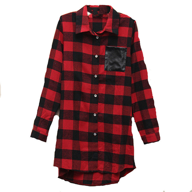Womens Classic Black Red Check Plaid Pockets Long Sleeve Shirt