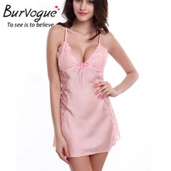 Burvogue Nightdress Silk Baby Dolls Sleepwear Lace  Women Lingerie