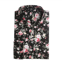Women Floral Shirts Cotton Long Sleeve Ladies Blouse Tops