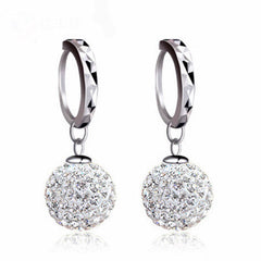 Luxury Super Flash Bling Crystal Sterling Silver Women Stud Earrings Party Jewelry