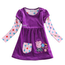 Nova kids clothing cartoon dresses hot selling kids winter dresses baby dress