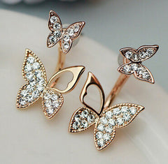 Hanging butterfly earrings two wear fashion temperament Korean earrings fine jewelry for women