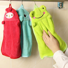 Nursery Hand Soft Plush Cartoon Hanging Wipe Bathing Towel