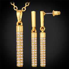 Necklace And Earrings Crystal Party Gold Plated Cylinder Jewelry Set