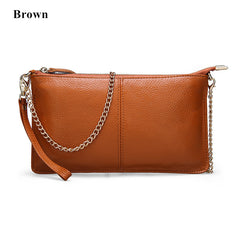Genuine Leather Women Clutch Chain Shoulder Bag Real Cowhide Purse