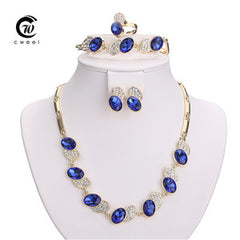 African Beads Imitated Crystal Jewelry Sets Gold Plated Pendant Earrings