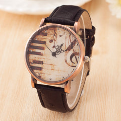 Musical Piano Notation Retro Casual Quartz Watch Female PU Leather Women Watches Wholesale