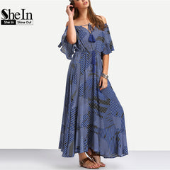SheIn Ladies 2016 Summer New Arrival Vintage Womens Half Sleeve Maxi Dress