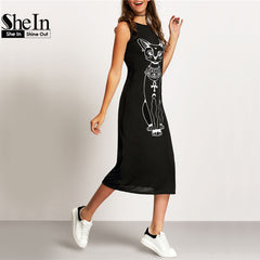 SheIn Long Summer 2016 Fashion Women Clothing Casual Black Sleeveless Mid-Calf Dress