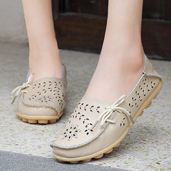 Breathable Genuine leather flat shoes for women