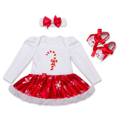 Newborn girl baby Jumpsuit Sets 3pcs Infant Christmas Cotton White Long Sleeve