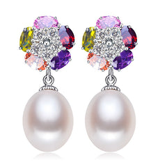 Necklace Pearl 925 Sterling Silver Flower Earrings Pendants