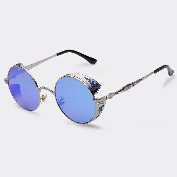 AOFLY Sunglass Fashion round women brand designer metal carving sun glasses