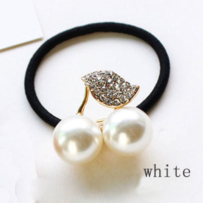 Red White Simulated Pearl Crystal Cherry Rubber Band Elastic Head Tie Hair Band Girls
