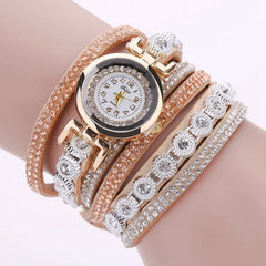 Duoya Women Crystal Round Dial Luxury Bracelet Watch