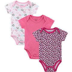 3pcs Leopard Print Summer Baby Romper with Short Sleeve for Newborn