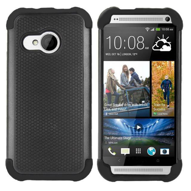 2 in 1 Rubber Silicone + PC Shield Case For HTC One M8 mini