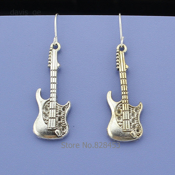 Vintage Silver Guitar Women Jewelry Set Earring Pendant Short Necklace